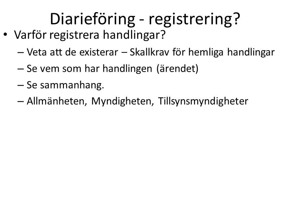Diarieföring - registrering? Varför registrera handlingar? – Veta att de existerar – Skallkrav för hemliga handlingar – Se vem som har handlingen (äre