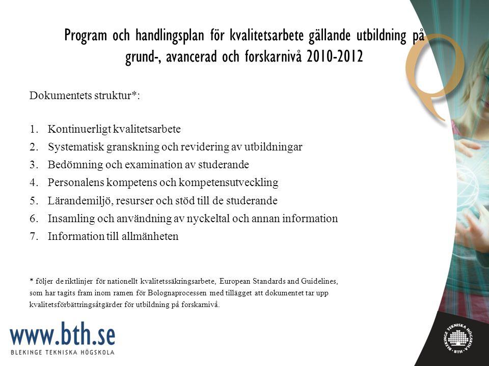Program och handlingsplan för kvalitetsarbete gällande utbildning på grund-, avancerad och forskarnivå 2010-2012 Dokumentets struktur*: 1.Kontinuerligt kvalitetsarbete 2.Systematisk granskning och revidering av utbildningar 3.Bedömning och examination av studerande 4.Personalens kompetens och kompetensutveckling 5.Lärandemiljö, resurser och stöd till de studerande 6.Insamling och användning av nyckeltal och annan information 7.Information till allmänheten * följer de riktlinjer för nationellt kvalitetssäkringsarbete, European Standards and Guidelines, som har tagits fram inom ramen för Bolognaprocessen med tillägget att dokumentet tar upp kvalitetsförbättringsåtgärder för utbildning på forskarnivå.