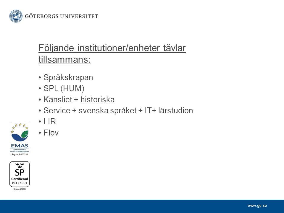 www.gu.se Följande institutioner/enheter tävlar tillsammans: Språkskrapan SPL (HUM) Kansliet + historiska Service + svenska språket + IT+ lärstudion LIR Flov