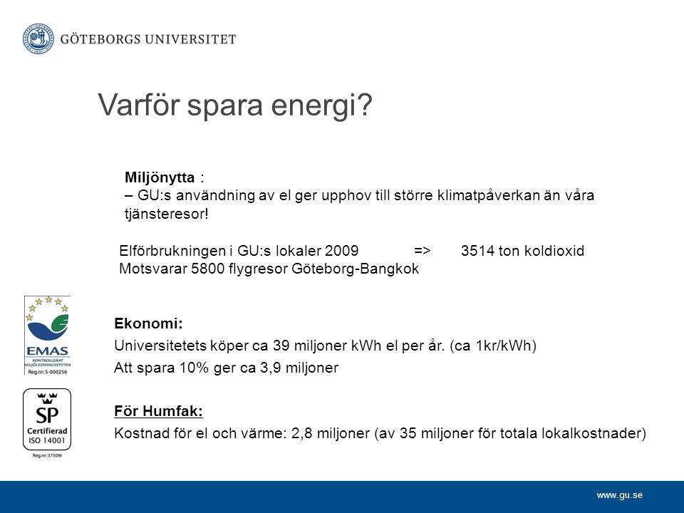 www.gu.se Varför spara energi. Ekonomi: Universitetets köper ca 39 miljoner kWh el per år.