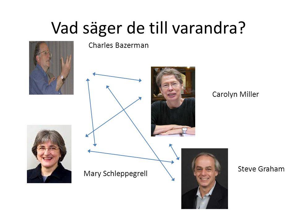 Carolyn Miller Charles Bazerman Mary Schleppegrell Steve Graham Vad säger de till varandra