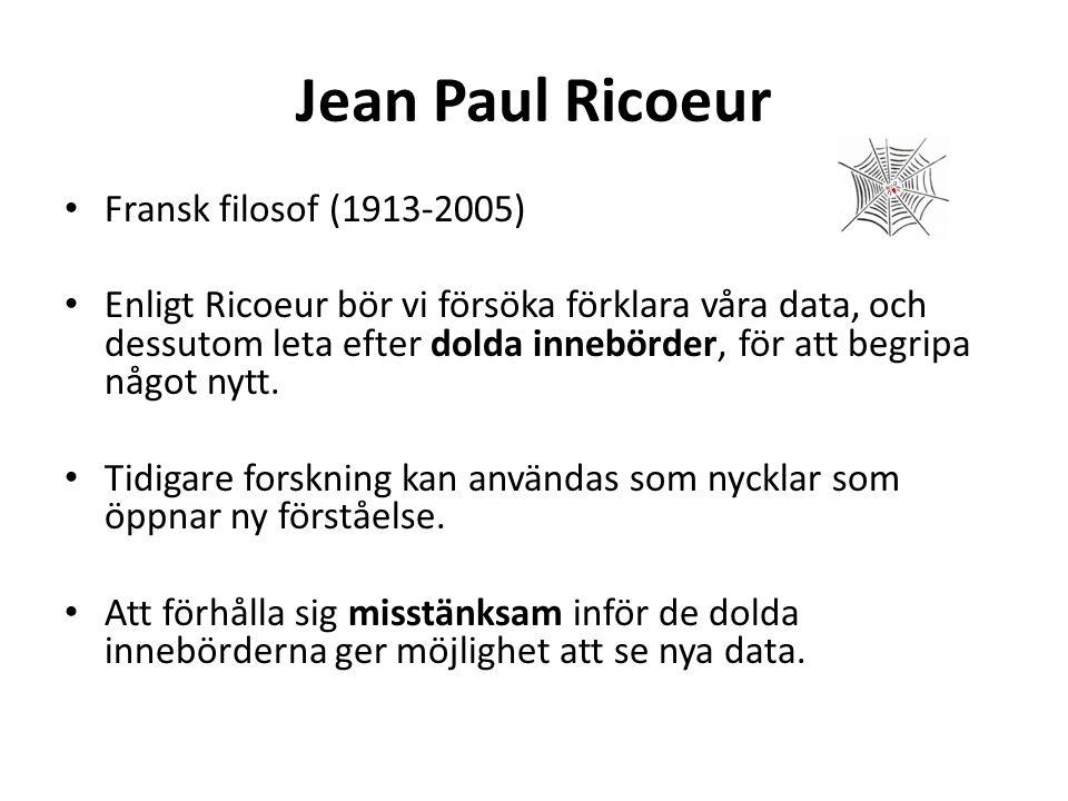 Jean Paul Ricoeur Fransk filosof (1913-2005) Enligt Ricoeur bör vi försöka förklara våra data, och dessutom leta efter dolda innebörder, för att begri