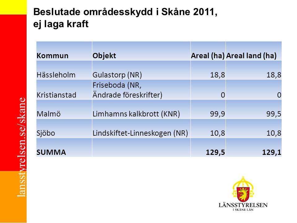lansstyrelsen.se/skane Beslutade områdesskydd i Skåne 2011, ej laga kraft ChP 2010-10-01 KommunObjektAreal (ha)Areal land (ha) HässleholmGulastorp (NR