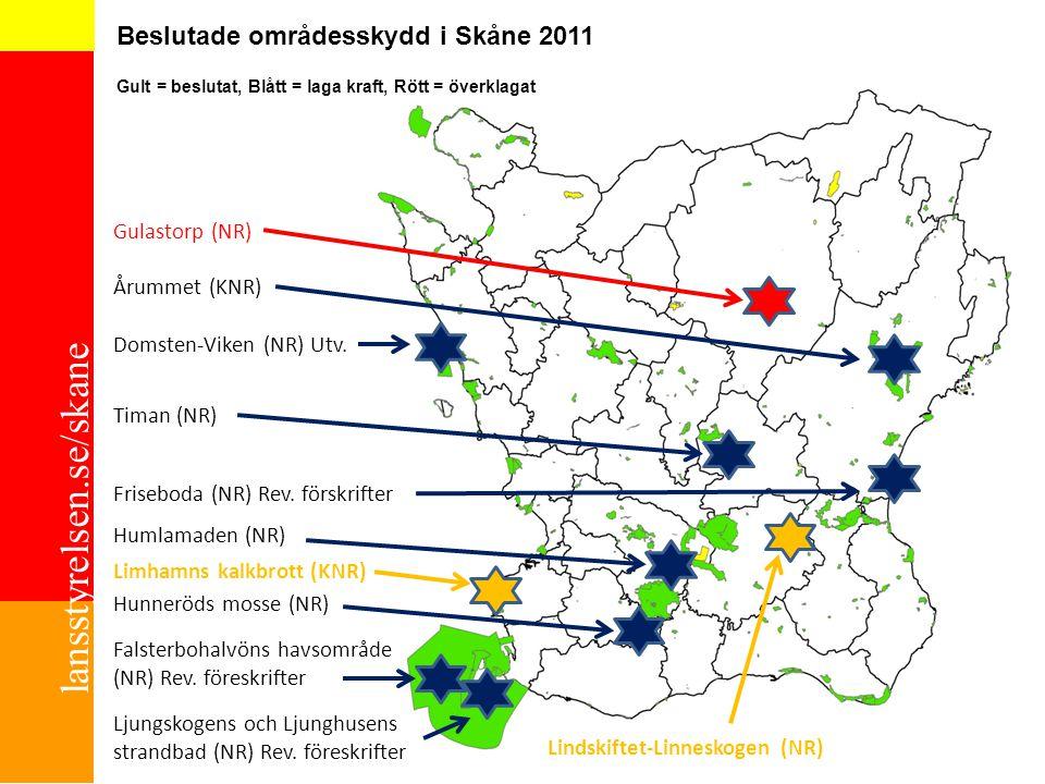 lansstyrelsen.se/skane Beslutade områdesskydd i Skåne 2011 Gult = beslutat, Blått = laga kraft, Rött = överklagat ChP 2010-10-01 Domsten-Viken (NR) Ut