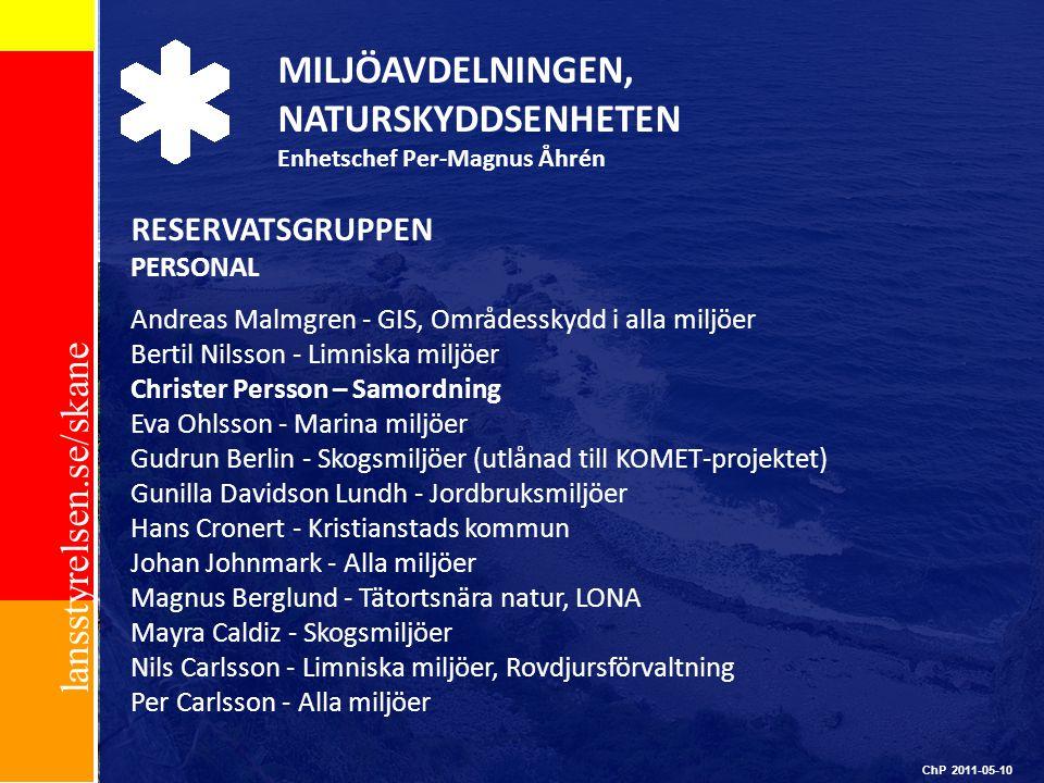 lansstyrelsen.se/skane ChP 2011-05-10 MILJÖAVDELNINGEN, NATURSKYDDSENHETEN Enhetschef Per-Magnus Åhrén RESERVATSGRUPPEN PERSONAL Andreas Malmgren - GI