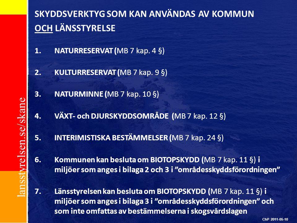 lansstyrelsen.se/skane ChP 2011-05-10 SKYDDSVERKTYG SOM KAN ANVÄNDAS AV KOMMUN OCH LÄNSSTYRELSE 1.NATURRESERVAT (MB 7 kap. 4 §) 2.KULTURRESERVAT (MB 7