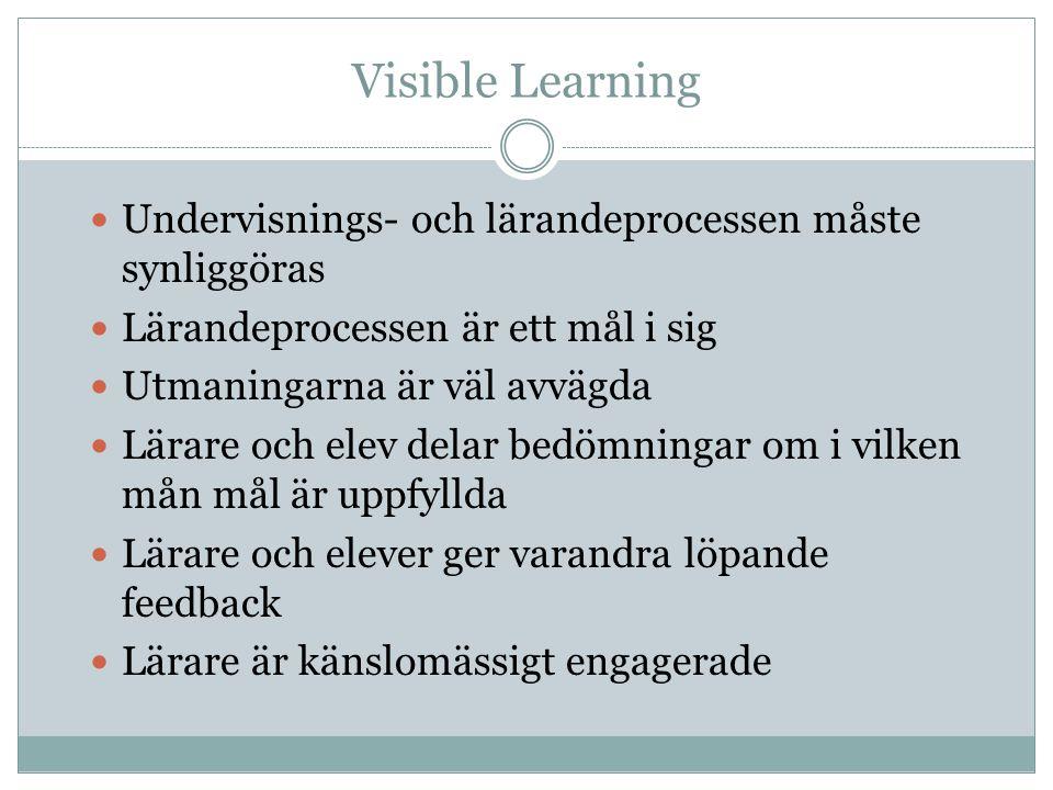 Visible Learning Undervisnings- och lärandeprocessen måste synliggöras Lärandeprocessen är ett mål i sig Utmaningarna är väl avvägda Lärare och elev d