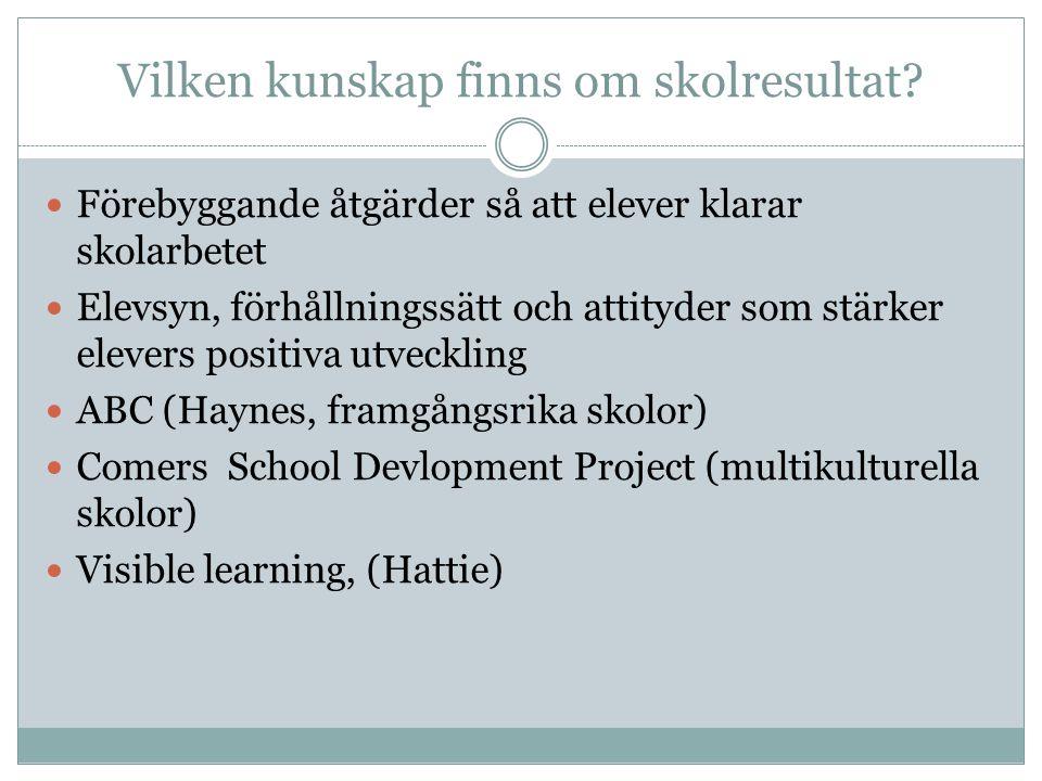 Vilken kunskap finns om skolresultat? Förebyggande åtgärder så att elever klarar skolarbetet Elevsyn, förhållningssätt och attityder som stärker eleve