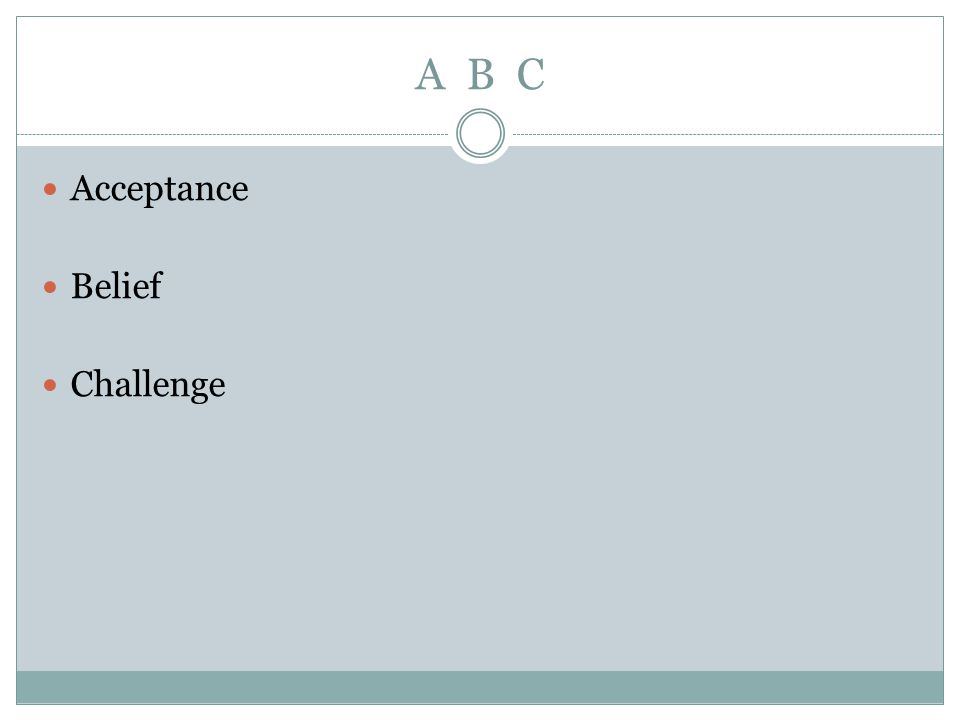 A B C Acceptance Belief Challenge