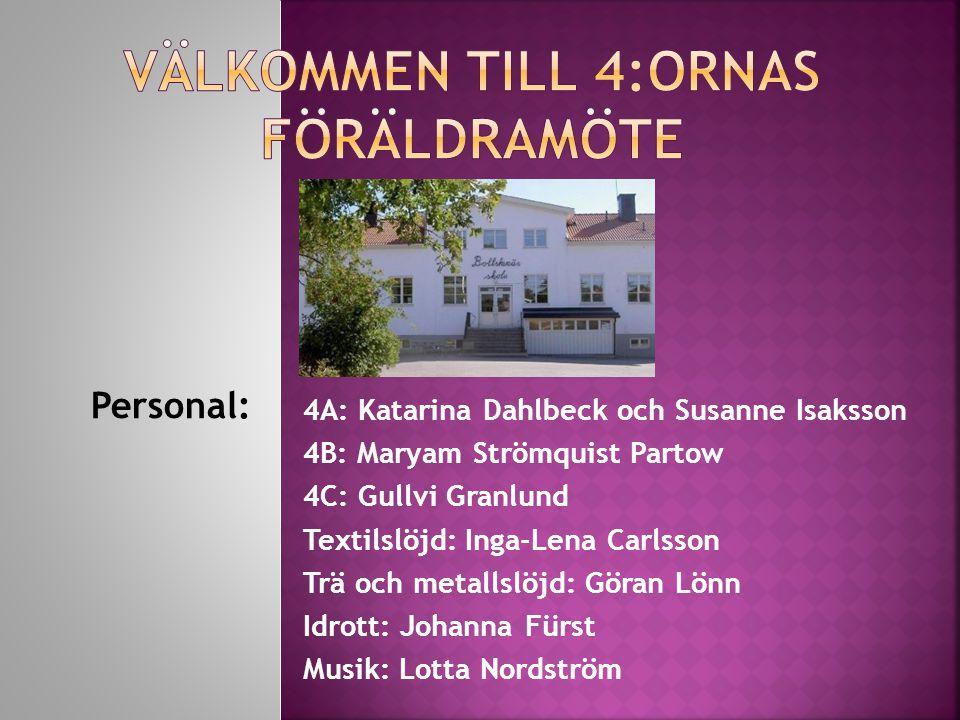 Personal: 4A: Katarina Dahlbeck och Susanne Isaksson 4B: Maryam Strömquist Partow 4C: Gullvi Granlund Textilslöjd: Inga-Lena Carlsson Trä och metallsl