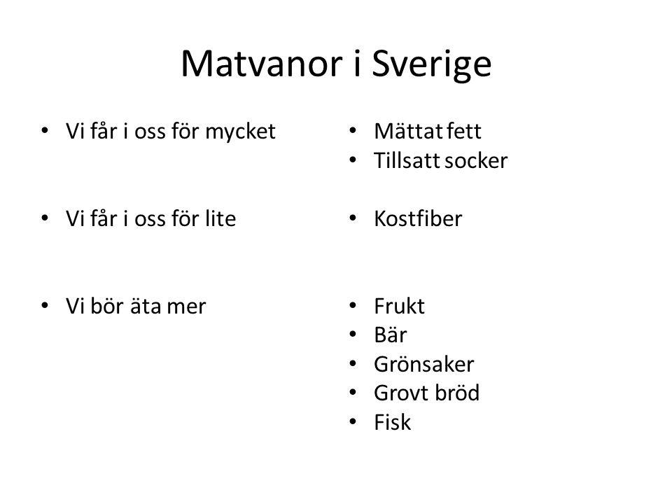 Matvanor i Sverige Vi får i oss för mycket Vi får i oss för lite Vi bör äta mer Mättat fett Tillsatt socker Kostfiber Frukt Bär Grönsaker Grovt bröd F