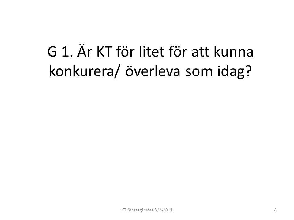 G 1. Är KT för litet för att kunna konkurera/ överleva som idag KT Strategimöte 3/2-20114