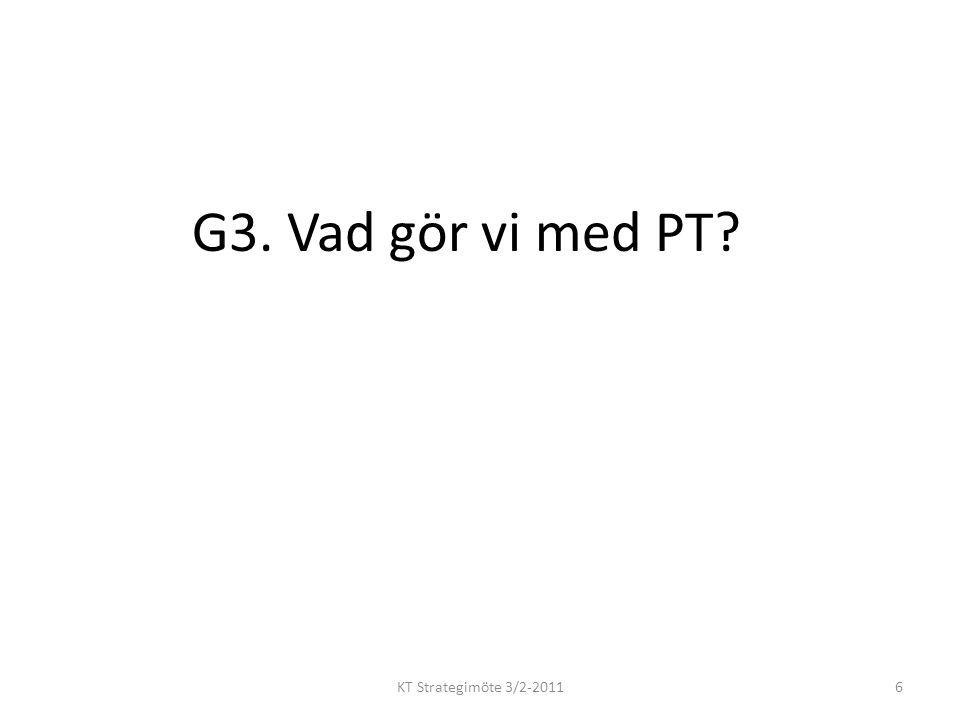 G3. Vad gör vi med PT? KT Strategimöte 3/2-20116