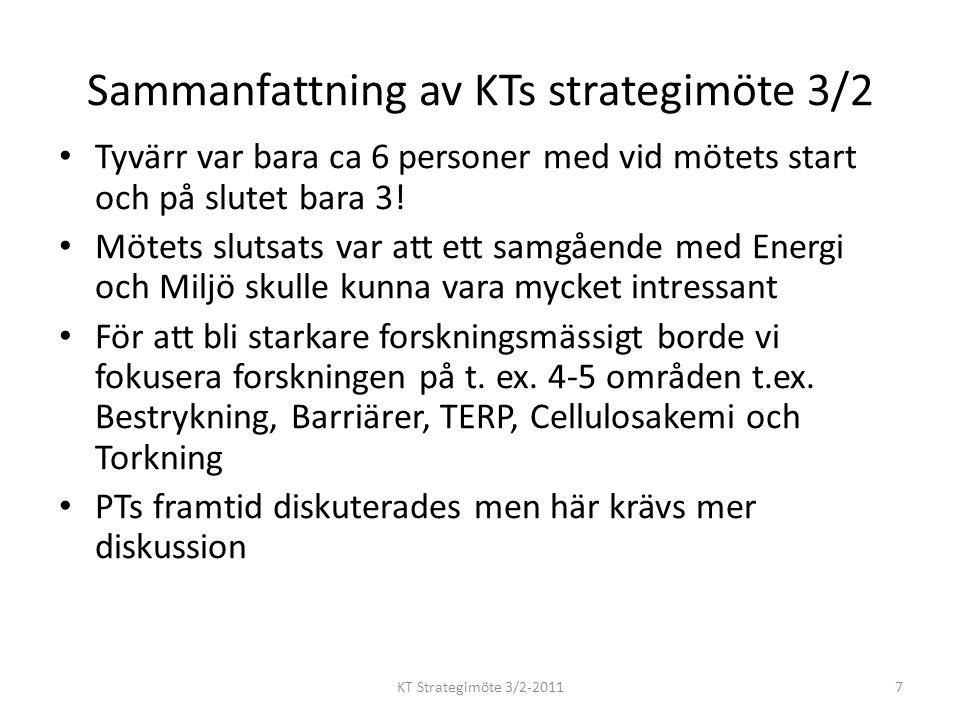Sammanfattning av KTs strategimöte 3/2 Tyvärr var bara ca 6 personer med vid mötets start och på slutet bara 3.