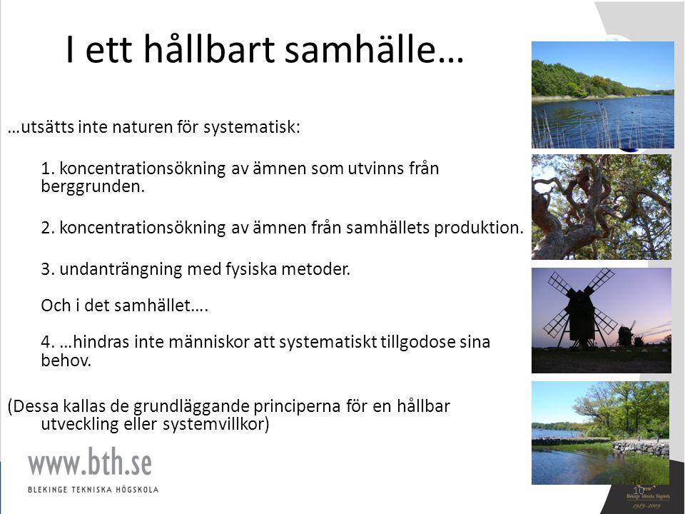 I ett hållbart samhälle… …utsätts inte naturen för systematisk: 1. koncentrationsökning av ämnen som utvinns från berggrunden. 2. koncentrationsökning