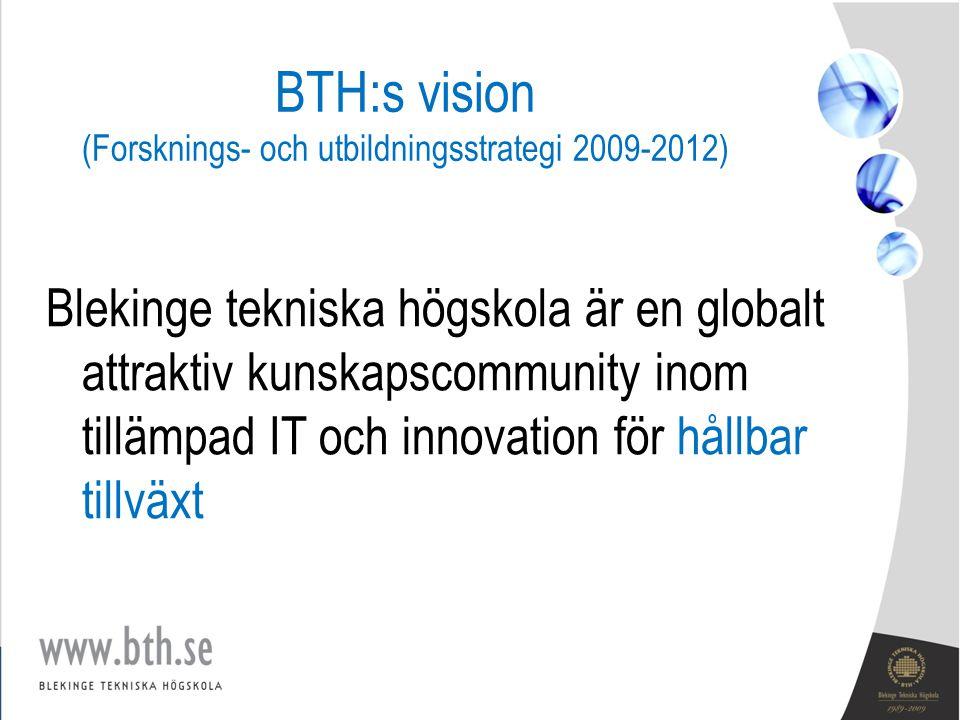 BTH:s vision (Forsknings- och utbildningsstrategi 2009-2012) Blekinge tekniska högskola är en globalt attraktiv kunskapscommunity inom tillämpad IT och innovation för hållbar tillväxt