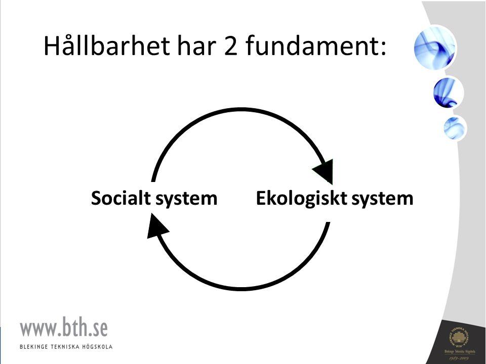 Hållbarhet har 2 fundament: Socialt systemEkologiskt system