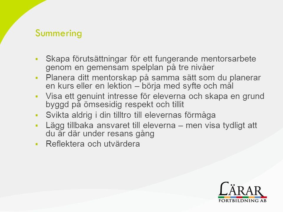 Summering  Skapa förutsättningar för ett fungerande mentorsarbete genom en gemensam spelplan på tre nivåer  Planera ditt mentorskap på samma sätt so