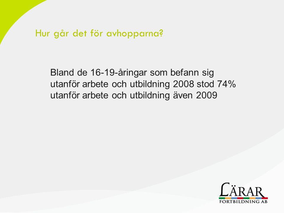 Bland de 16-19-åringar som befann sig utanför arbete och utbildning 2008 stod 74% utanför arbete och utbildning även 2009 Hur går det för avhopparna?