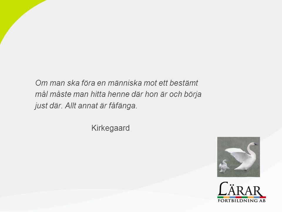 Om man ska föra en människa mot ett bestämt mål måste man hitta henne där hon är och börja just där. Allt annat är fåfänga. Kirkegaard