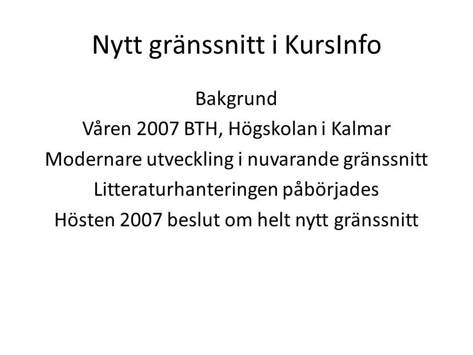 Nytt gränssnitt i KursInfo Bakgrund Våren 2007 BTH, Högskolan i Kalmar Modernare utveckling i nuvarande gränssnitt Litteraturhanteringen påbörjades Hösten 2007 beslut om helt nytt gränssnitt