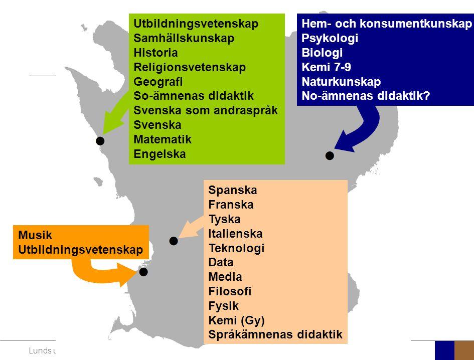 Lunds universitet / Lärarutbildningsprojektet / Projektledning LU / 101004 Utbildningsvetenskap Samhällskunskap Historia Religionsvetenskap Geografi S
