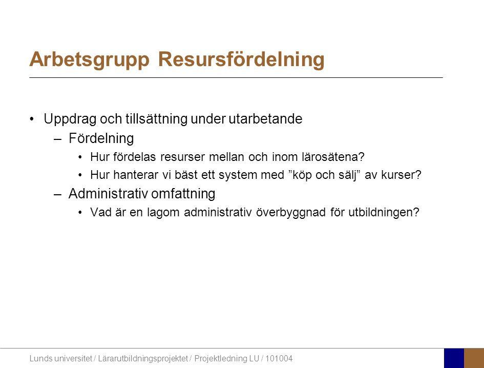 Lunds universitet / Lärarutbildningsprojektet / Projektledning LU / 101004 Arbetsgrupp Resursfördelning Uppdrag och tillsättning under utarbetande –Fö