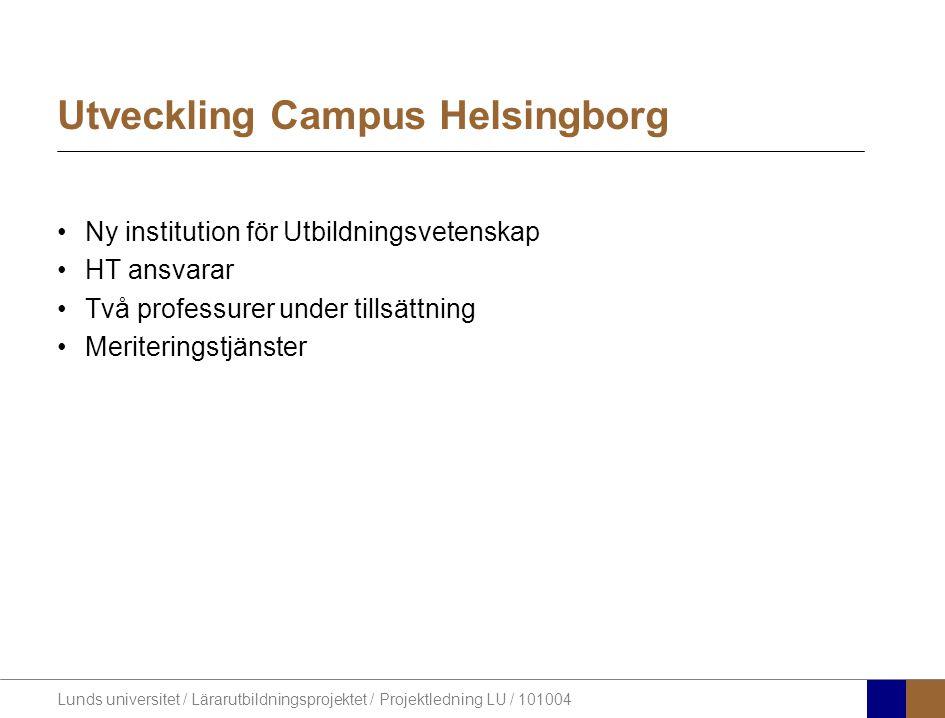 Lunds universitet / Lärarutbildningsprojektet / Projektledning LU / 101004 Utveckling Campus Helsingborg Ny institution för Utbildningsvetenskap HT an
