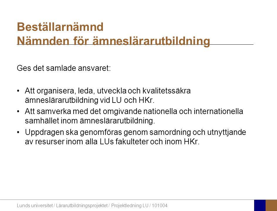 Lunds universitet / Lärarutbildningsprojektet / Projektledning LU / 101004 Beställarnämnd Nämnden för ämneslärarutbildning Ges det samlade ansvaret: A