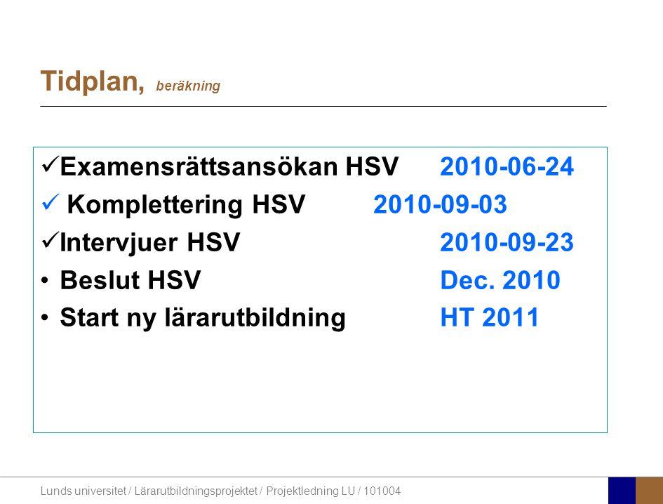 Lunds universitet / Lärarutbildningsprojektet / Projektledning LU / 101004 Tidplan, beräkning Examensrättsansökan HSV2010-06-24 Komplettering HSV2010-09-03 Intervjuer HSV2010-09-23 Beslut HSVDec.