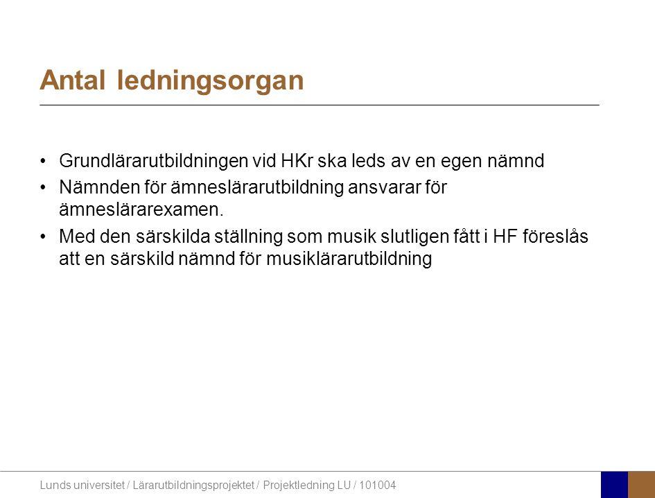 Lunds universitet / Lärarutbildningsprojektet / Projektledning LU / 101004 Antal ledningsorgan Grundlärarutbildningen vid HKr ska leds av en egen nämnd Nämnden för ämneslärarutbildning ansvarar för ämneslärarexamen.