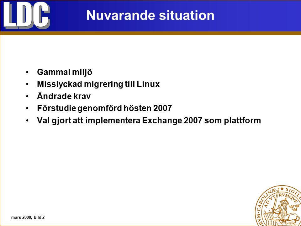 Nuvarande situation Gammal miljö Misslyckad migrering till Linux Ändrade krav Förstudie genomförd hösten 2007 Val gjort att implementera Exchange 2007 som plattform mars 2008, bild 2