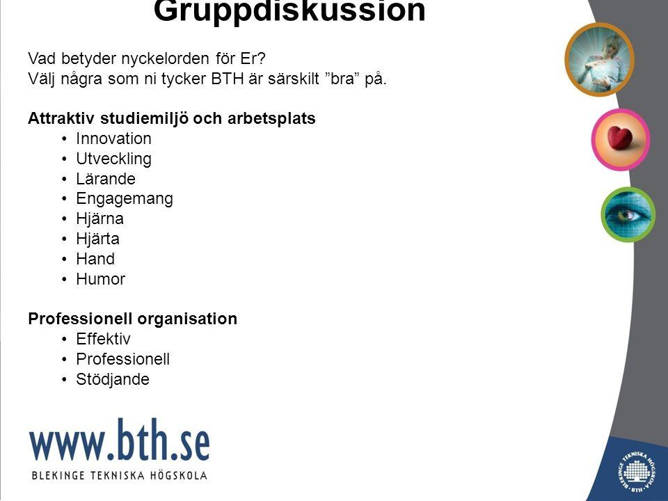 Gruppdiskussion Vad betyder nyckelorden för Er. Välj några som ni tycker BTH är särskilt bra på.