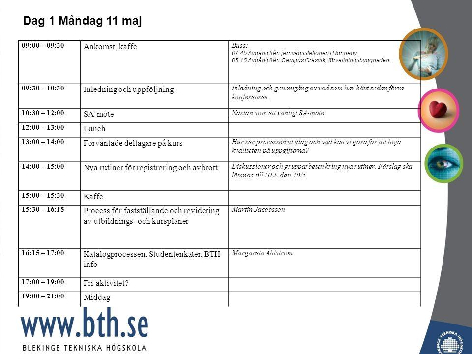 09:00 – 09:30 Ankomst, kaffe Buss: 07.45 Avgång från järnvägsstationen i Ronneby.