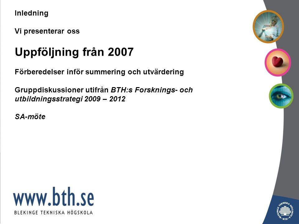 Antal förstahandssökande till BTH i antagningsomgångarna HT2007 – HT2009 (Program nivåindelat)
