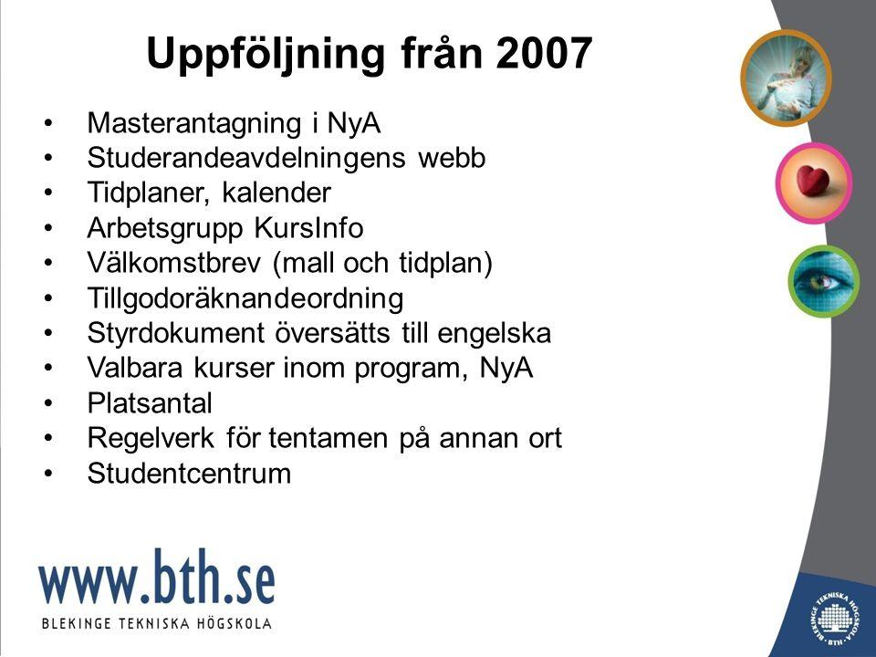 Antal campus/distans bland förstahandssökande till program HT2007 - HT2009