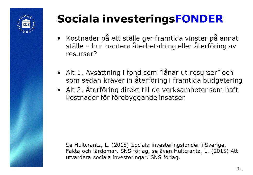 Sociala investeringsFONDER Kostnader på ett ställe ger framtida vinster på annat ställe – hur hantera återbetalning eller återföring av resurser.