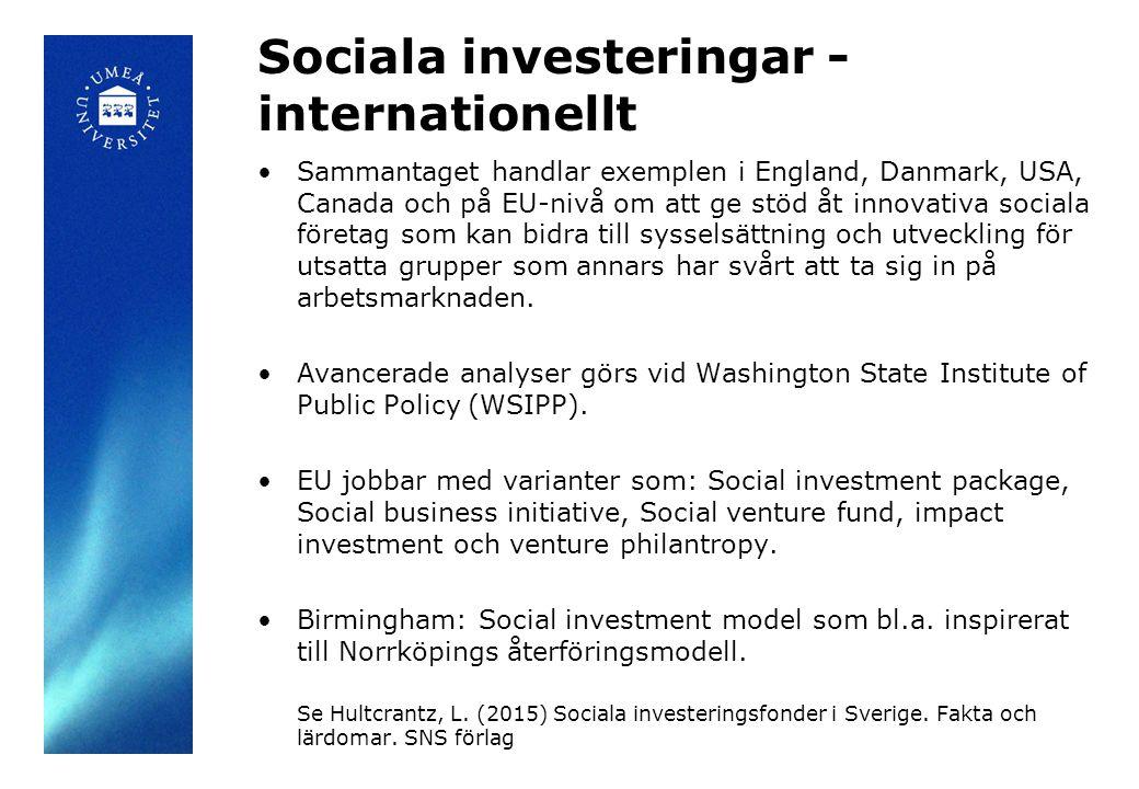 Sociala investeringar - internationellt Sammantaget handlar exemplen i England, Danmark, USA, Canada och på EU-nivå om att ge stöd åt innovativa sociala företag som kan bidra till sysselsättning och utveckling för utsatta grupper som annars har svårt att ta sig in på arbetsmarknaden.