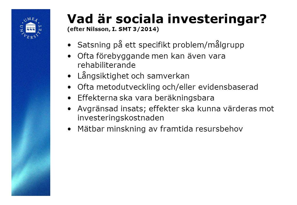 Vad är sociala investeringar. (efter Nilsson, I.