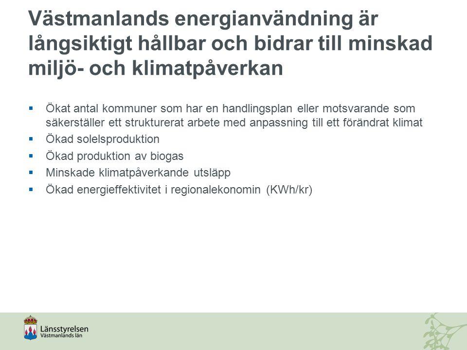 Västmanlands energianvändning är långsiktigt hållbar och bidrar till minskad miljö- och klimatpåverkan  Ökat antal kommuner som har en handlingsplan