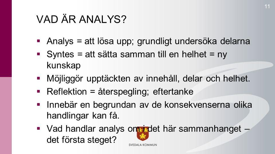VAD ÄR ANALYS?  Analys = att lösa upp; grundligt undersöka delarna  Syntes = att sätta samman till en helhet = ny kunskap  Möjliggör upptäckten av