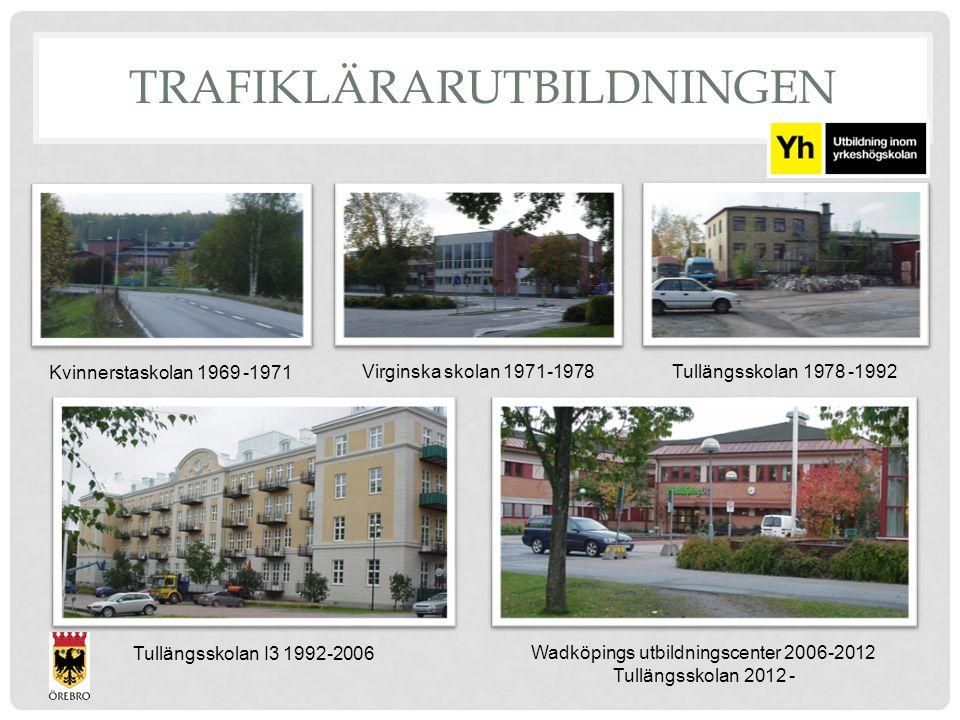 Wadköpings utbildningscenter 2006-2012 Tullängsskolan 2012 - Tullängsskolan I3 1992-2006 Kvinnerstaskolan 1969 -1971 Virginska skolan 1971-1978Tullängsskolan 1978 -1992 TRAFIKLÄRARUTBILDNINGEN