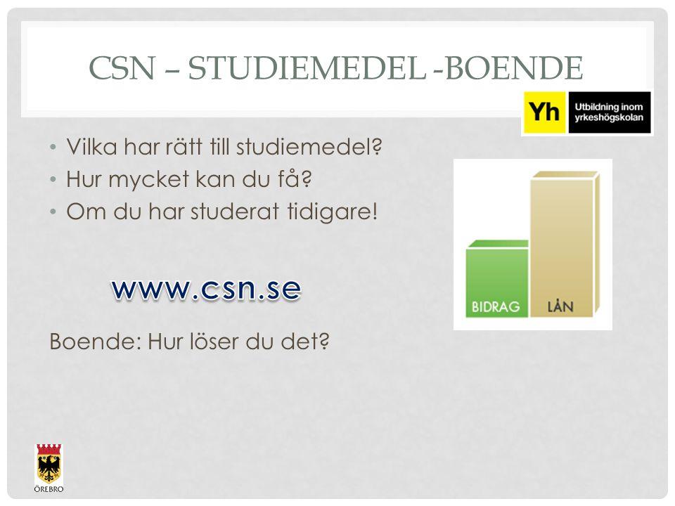 CSN – STUDIEMEDEL -BOENDE Vilka har rätt till studiemedel.