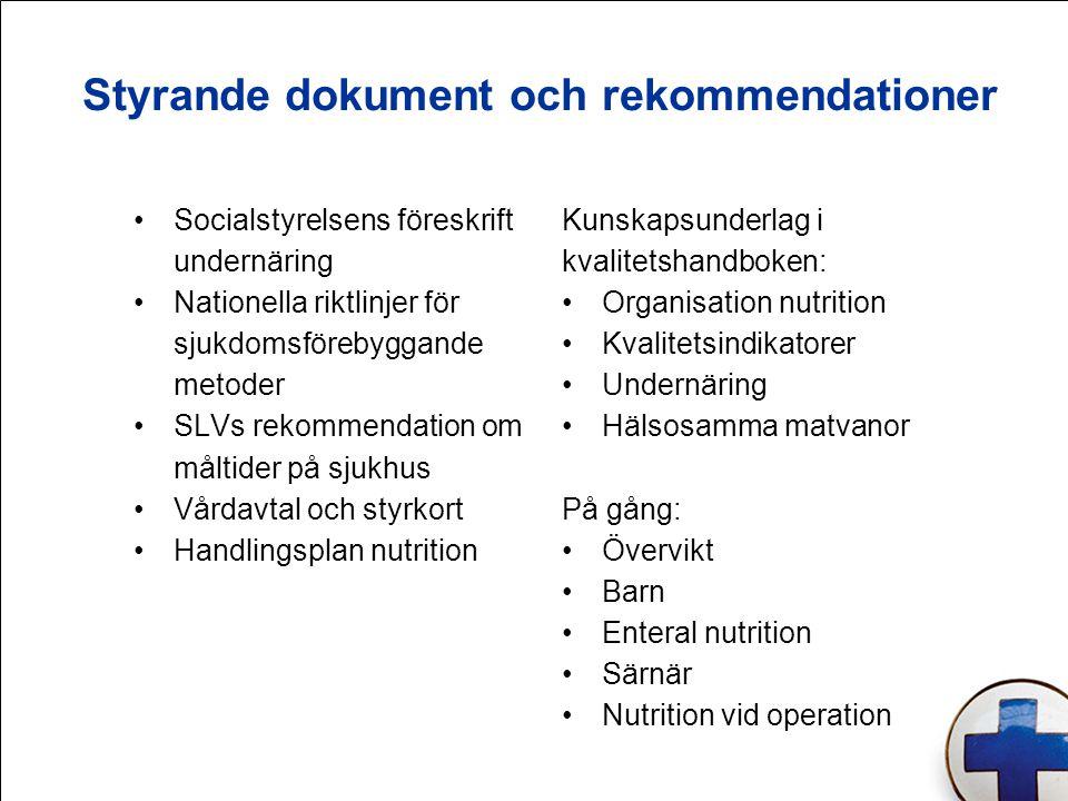 Styrande dokument och rekommendationer Socialstyrelsens föreskrift undernäring Nationella riktlinjer för sjukdomsförebyggande metoder SLVs rekommendat