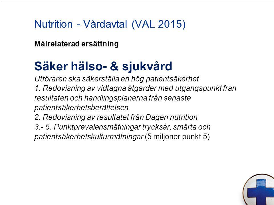 Nutrition - Vårdavtal (VAL 2015) Målrelaterad ersättning Säker hälso- & sjukvård Utföraren ska säkerställa en hög patientsäkerhet 1. Redovisning av vi