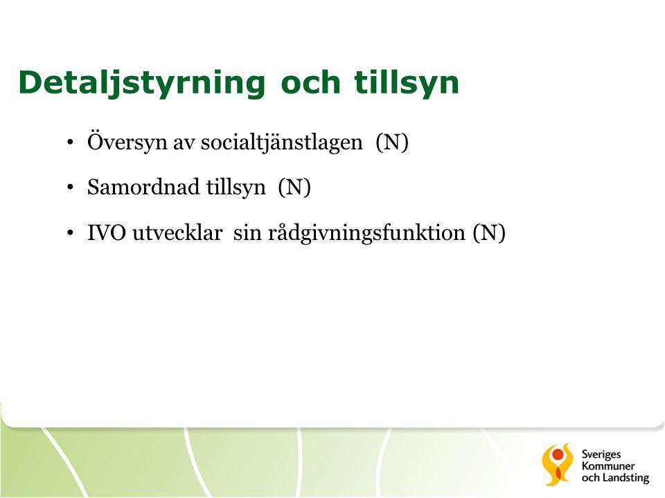 Översyn av socialtjänstlagen (N) Samordnad tillsyn (N) IVO utvecklar sin rådgivningsfunktion (N) Detaljstyrning och tillsyn