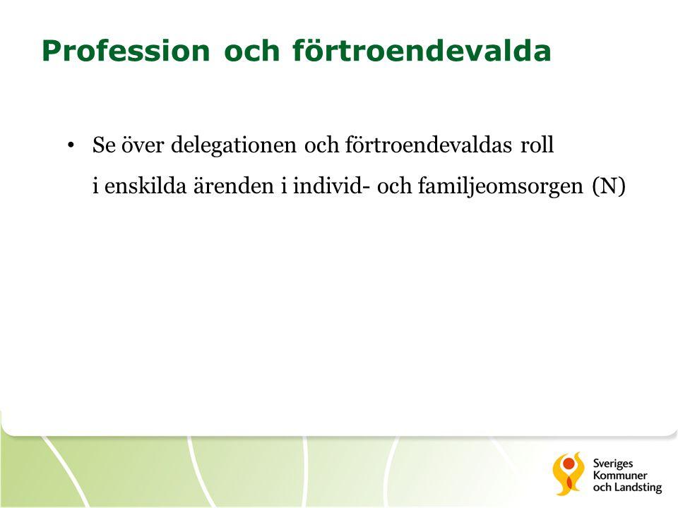 Profession och förtroendevalda Se över delegationen och förtroendevaldas roll i enskilda ärenden i individ- och familjeomsorgen (N)