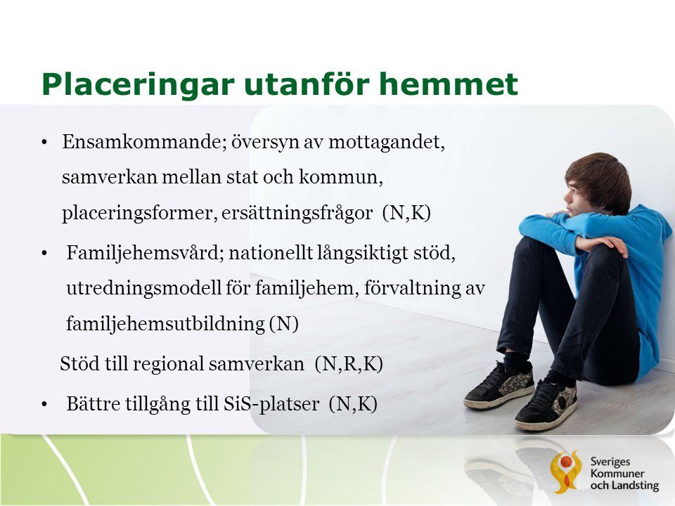 Placeringar utanför hemmet Ensamkommande; översyn av mottagandet, samverkan mellan stat och kommun, placeringsformer, ersättningsfrågor (N,K) Familjehemsvård; nationellt långsiktigt stöd, utredningsmodell för familjehem, förvaltning av familjehemsutbildning (N) Stöd till regional samverkan (N,R,K) Bättre tillgång till SiS-platser (N,K)