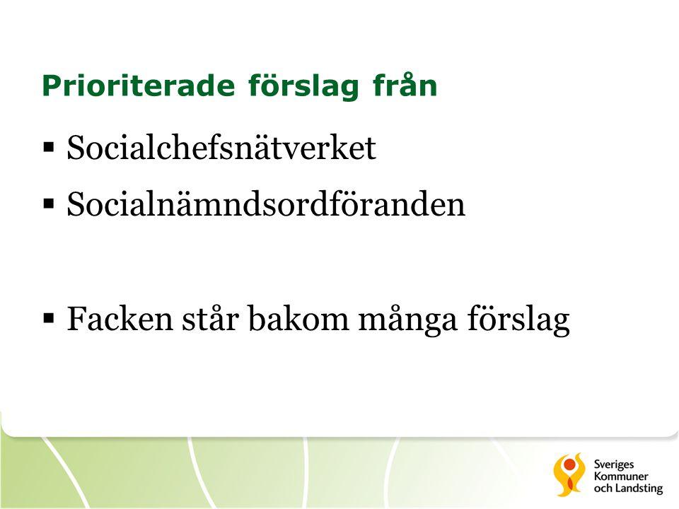 Prioriterade förslag från  Socialchefsnätverket  Socialnämndsordföranden  Facken står bakom många förslag