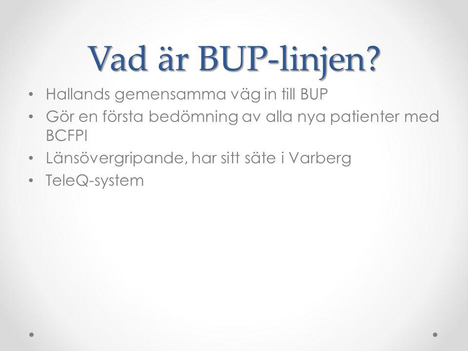 Vad är BUP-linjen? Hallands gemensamma väg in till BUP Gör en första bedömning av alla nya patienter med BCFPI Länsövergripande, har sitt säte i Varbe
